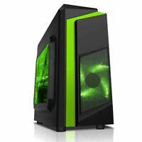 CiT F3 Black Micro ATX Gaming PC Case 12CM Green LED Fan USB 3 Side Window mATX