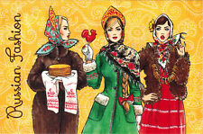 RUSSIAN BEAUTIES WITH ETHNIC FOOD Modern Russian card