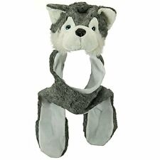 1 pcs Plush Grey Husky Wolf Hat with Long Ear Flaps & Attached Mittens