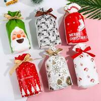 10pcs Christmas Gift Bags Snowflake/Santa Claus Drawstring Cookie Candy Bags