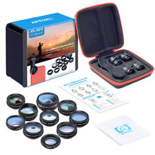 Apexel 10 in 1 Cell Phone Camera Lens Kit Wide Angle Lens & Macro Lens+Fisheye