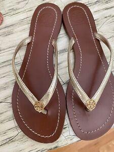Tory Burch Womens Terra Thong Leather Metallic Gold - Size 8