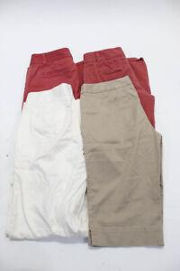 J Crew Womens Cotton Pants Tan Ivory Raspberry Size 6 Lot 4