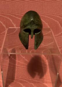Bronze Greek corinthian helmet miniature replica.