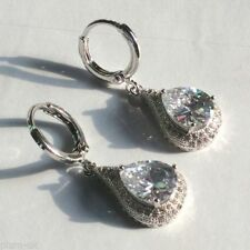 Pear Huggie White Gold Filled Costume Earrings