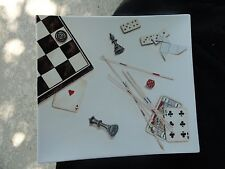 Gien Jeux Playing Cards Dice Chess Checkers Off White Rectangular Platter