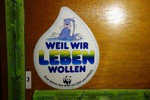 Alter Aufkleber Natur Tiere Umwelt WWF ZDF HÖRZU Weil wir leben wollen