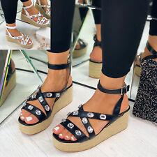 New Womens Mid Wedge Heel Platform Sandals Gemstone Peep Toe Ankle Strap Shoes