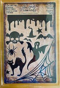 NEW Halloween Set by Tim Holtz Foam Stamps black cat ghost skull spider web bat
