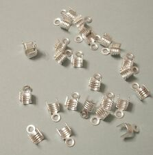50pcs-Brass Cord Tips  Terminator  Chain End Terminator Silver  4x7mm.