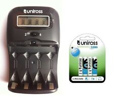 UNiROSS LCD 1-2 HOUR AA/AAA CHARGER & 4 x AAA 1000 Series Rechargeable Batteries