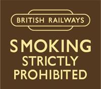 British Railways Smoking Prohibited enamelled steel wall sign 180mm x 160mm (dp)
