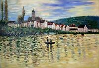 Claude Monet the Seine at Vetheuil Repro, Hand Painted Oil Painting, 24x36in