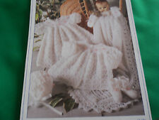 Babys Shawl,  Coat,Dress Bonnet, Mitts and Boots size 12-18 knitting pattern