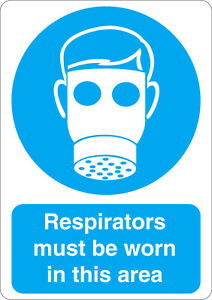 Respirators must be worn in this area mandatory safety sign sticker A5