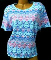 Kim rogers purple multi color abstract print scoop neck short sleeve top XL
