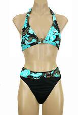 KECHIKA 2 PIECE BIKINI Aqua Black Tan Floral FLORAL  NWT *