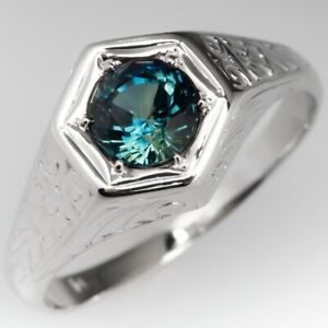 1.70 CT Slightly Bluish Green Color Sapphire Men's Fashion Sterling Silver Ring