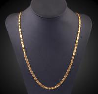 18k Goldkette Edelstahlkette vergoldet Panzerkette 60cm Damen Herren Halskette