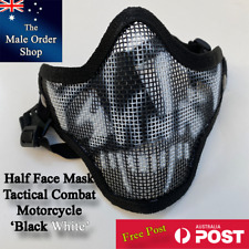 Half Face Masks Combat, Tactical, Safety, Motorcycle - Black/White