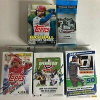 2020 & 2021 (5) Sealed Baseball Card Lot Series 1 Hanger, Update Chrome, Donruss