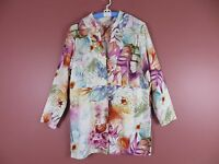 TB03413- COLDWATER CREEK Woman Linen Rayon Long Blouse Pockets Multi-Color Sz L