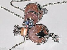 1pc Murano Glass pink oil perfume bottle crystal cork pendant vial Necklace new*