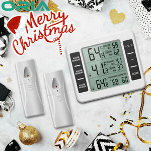 Wireless Digital Refrigerator Freezer Thermometer Temp Alarm 2 Sensor In/Outdoor