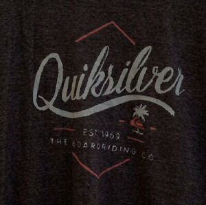 QUIKSILVER BOARDRIDING COMPANY shield Boy's Dark Gray T-SHIRT Size XL