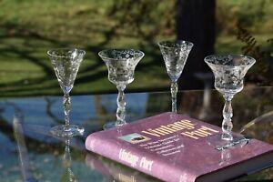 Vintage Etched Liqueur, Wine Glasses, Set of 4 Mis-Matched, Cambridge