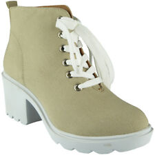 Womens Ladies Beige Canvas Chunky High Heel Lace Up Work Office New Shoes Sizes