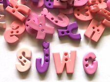 50 pcs A B C Alphabet letter buttons 2 holes (random Pick) purple & light pink