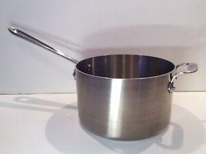 All-Clad D5 Brushed Stainless Steel 4 Qt Sauce Pan Soup Pot; Stgt Sides; No Lid