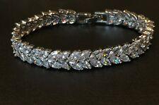 9556d2f5b 18K White Gold Tennis Bracelet made w/ Swarovski Crystal Marquise Diamond  Stone