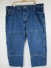 DICKIES Mens Blue Jeans Double Knee Relaxed Tag 44x30 Actual 44X27 Hemmed