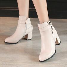 Women Ankle Boots Buckle Chelsea Pointy Toe Block Heels Zipper Fashion Shoes