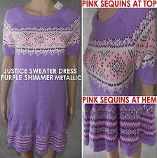 NWT$40 Justice Sequin @Purple Sparkle Metallic Nordic Fair Isle Sweater Dress 18