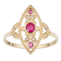 10k Yellow Gold Vintage Style Genuine Round Ruby and Diamond Ring