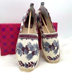 NIB Tory Burch Grosgrain Whipstitch Floral Cotton Espadrille Flat Shoe In 10M
