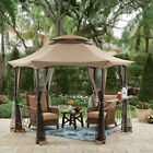 Garden Gazebo With Curtains 12 ft. Hexagon Polyester Canopy Top Steel Frame