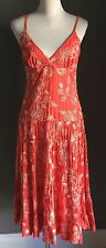 Portmans Fab Orange & White Floral Stitch Cotton Maxi Tier Dress Size 10