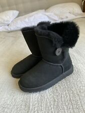 Lovely Genuine Ugg Boots Uk Size 3.5 Black Button Sheepskin Excellent Condition