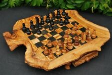 Olive wood chess board / Natural Chessboard with free pieces / CHESS GAME, SET
