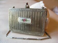 Antique Silver T White Guilloche Enamel Coin Holder Bar Chain Fob Dance Compact