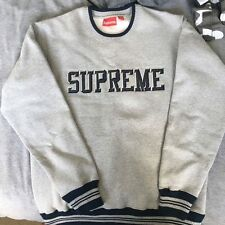 Genuine SUPREME Felt Logo Crewneck Sweatshirt Jumper Grey Medium