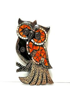 """Wood Owl On Branch Mosaic Glass Detail Wall Hanging Art By ZENDA IMPORTS 12"""""""