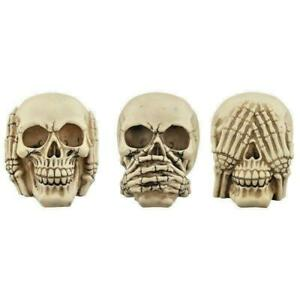 See No Hear No Speak No Evil Set 3 Skulls Skeleton Gothic Ornament Fantasy