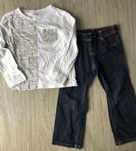 Crazy 8 Boys Size 4T Outfit White Long Sleeve Shirt Blue Jeans EUC