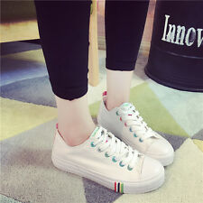 Canvas Women's Round Toe Sports Athletic Sneakers Lace up Flat Casual Shoes