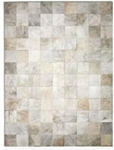 New Cowhide Rug Leather. Animal Skin Patchwork Carpet. Size : 6 x 8 ft